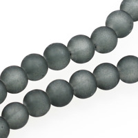 Frostade glaspärlor, grå, 8mm – utförsäljning