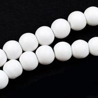 Gummiklädda glaspärlor, vit, 8mm