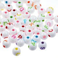 Runda bokstavspärlor craft-style, vit-färg