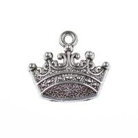 Berlock, krona, antiksilver, 18x13mm, 10st