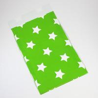 Presentpåse av papper, ljusgrön med vita stjärnor