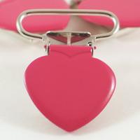 Metallclips hjärta, fuchsia