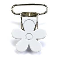 Metallclips blomma, vit