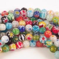 Runda millefiori pärlor, 6mm