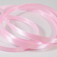 Satinband rosa, hel rulle, 6mm