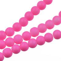 Gummiklädda glaspärlor, rosa, 6mm