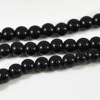 Vaxade glaspärlor, svart, 6mm