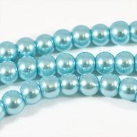Vaxade glaspärlor, ljusblå, 6mm