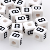 Vita bokstavspärlor kub 10mm *B*