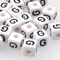 Vita bokstavspärlor kub 10mm *G*