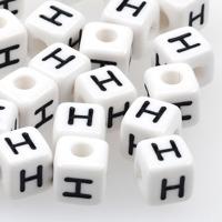 Vita bokstavspärlor kub 10mm *H*