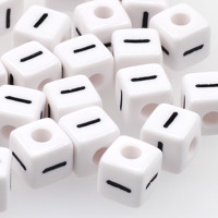 Vita bokstavspärlor kub 10mm *I*