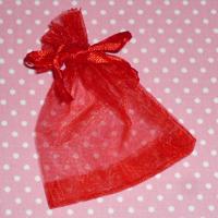 Organzapåse röd 7x9 cm