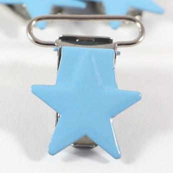 Metallclips stjärna, ljusblå
