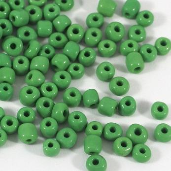 6/0 Seed beads, opaque grön, 4mm