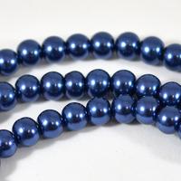 Vaxade glaspärlor, mörkblå, 6mm