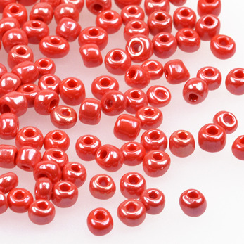 6/0 Seed beads, lustered röd, 4mm
