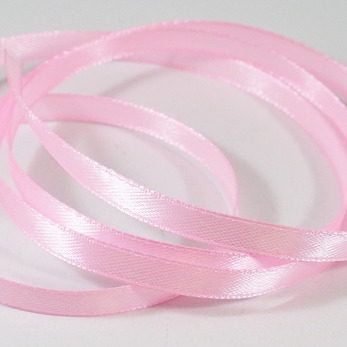 Satinband rosa, hel rulle, 6mm
