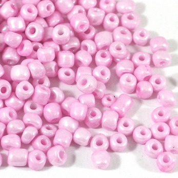 6/0 Seed beads, lustered ljusrosa, 4mm
