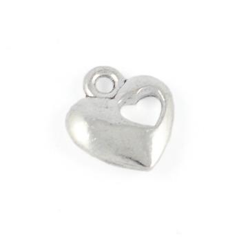 Berlock med utstansat hjärta, silver, 11mm - 10st