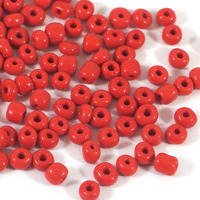 6/0 Seed beads, opaque röd, 4mm