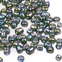 6/0 Seed beads, transparent-rainbow grå, 4mm