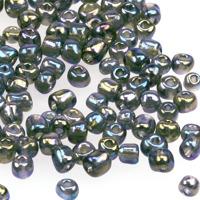 6/0 Seed beads, transparent-rainbow grå, 4mm