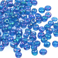 6/0 Seed beads, transparent-rainbow blå, 4mm