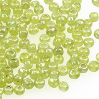 6/0 Seed beads, transparent-rainbow ljusgrön, 4mm