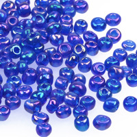 6/0 Seed beads, transparent-rainbow marinblå, 4mm
