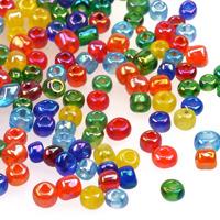 6/0 Seed beads, transparent-rainbow mix, 4mm