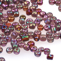 6/0 Seed beads, transparent-rainbow violett, 4mm