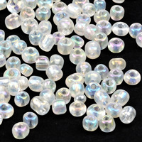 6/0 Seed beads, transparent-rainbow klar, 4mm