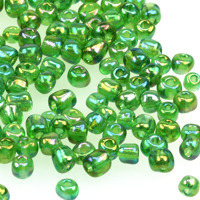 6/0 Seed beads, transparent-rainbow grön, 4mm