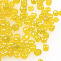 6/0 Seed beads, transparent-rainbow gul, 4mm