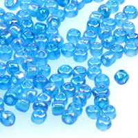 6/0 Seed beads, transparent-rainbow aqua, 4mm