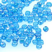 6/0 Seed beads, transparent-rainbow aqua, 4mm