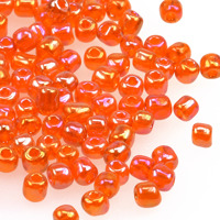 6/0 Seed beads, transparent-rainbow orange, 4mm