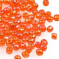 6/0 Seed beads, transparent-rainbow orange, 4mm