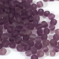 6/0 Seed beads, frostad transparent plommon, 4mm