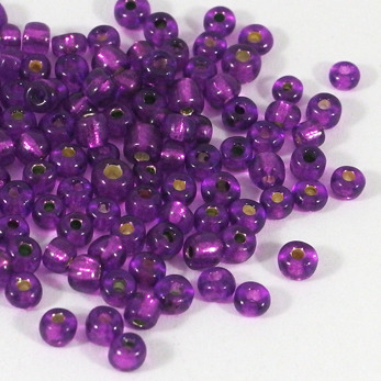 6/0 Seed beads, silverlined plommon, 4mm