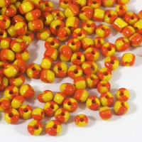 6/0 Seed beads, tvåfärgad gul-orange, 4mm