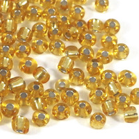 6/0 Seed beads, silverlined guld, 4mm