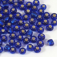 6/0 Seed beads, silverlined marinblå, 4mm