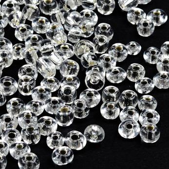 6/0 Seed beads, silverlined klar, 4mm