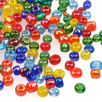 6/0 Seed beads, transparent-rainbow mix, 4mm