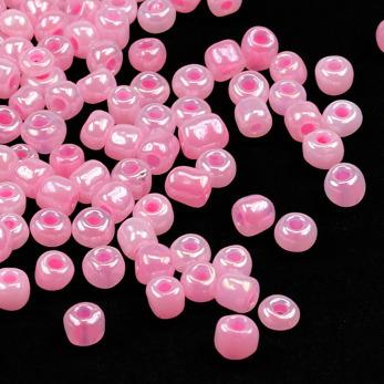6/0 Seed beads, ceylon ljusrosa, 4mm