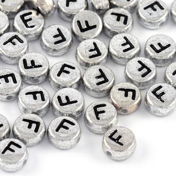 Bokstavspärlor silver *F*