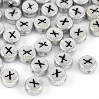 Bokstavspärlor silver *X*