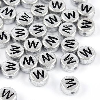 Bokstavspärlor silver *W*